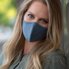 Convertible Face Mask 100% cotton slate blue unisex and youth size