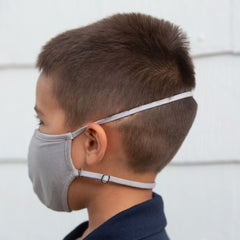 Convertible Face Mask 100% cotton slate grey youth back of head
