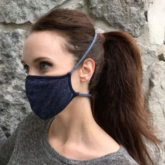 Convertible Face Mask Shimmer blue Womens back of head