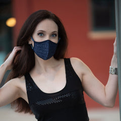 Convertible Face Mask Shimmer blue Womens Fashion
