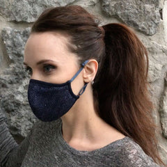 Convertible Face Mask Shimmer blue Womens around ears