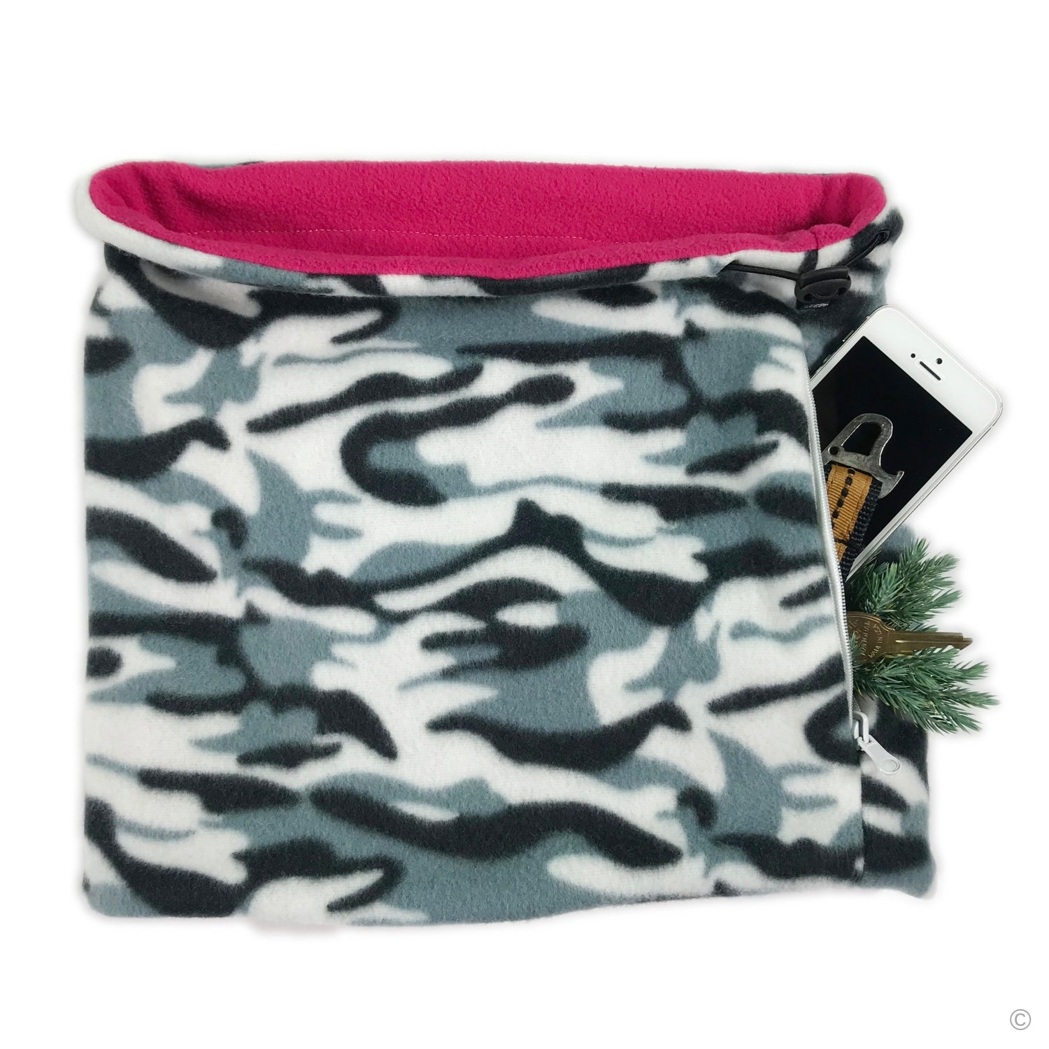 SHOLDIT Convertible Neck Gaiter with Pocket Camouflage Pink