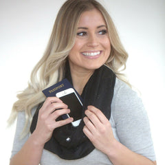 SHOLDIT Infinity Scarf with Pocket Shimmer Black Doubled