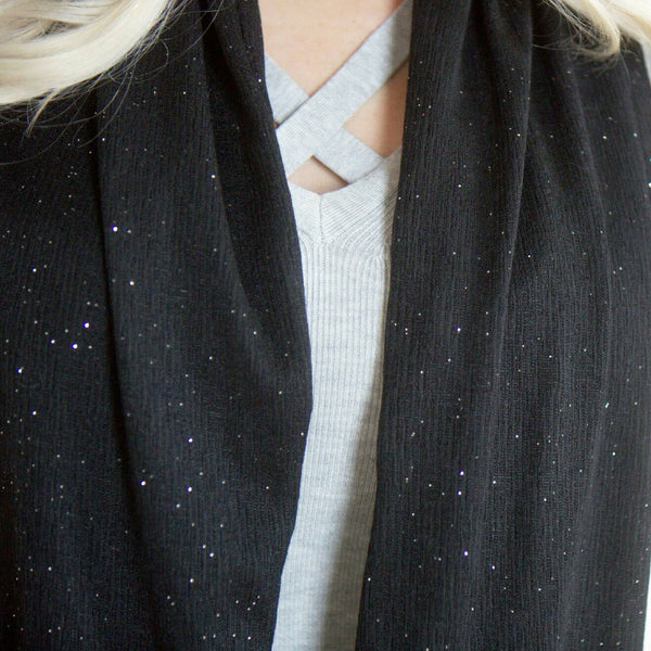 SHOLDIT Infinity Scarf with Pocket Shimmer Black Fabric Close Up