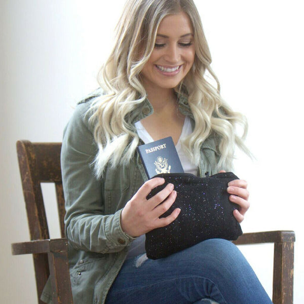 SHOLDIT Infinity Scarf with Pocket Shimmer Black Clutch