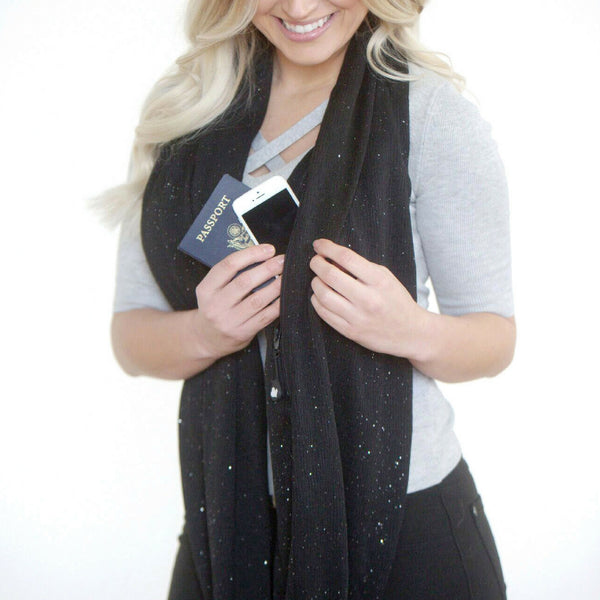 SHOLDIT Infinity Scarf with Pocket Shimmer Black Long