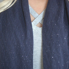 SHOLDIT Infinity Scarf with Pocket Shimmer Blue Fabric