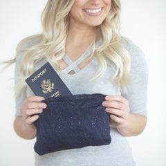 SHOLDIT Infinity Scarf with Pocket Shimmer Blue Clutch