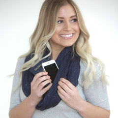 SHOLDIT Infinity Scarf with Pocket Shimmer Blue Doubled