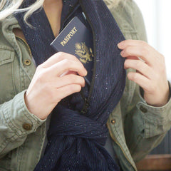 SHOLDIT Infinity Scarf with Pocket Shimmer Blue Travel