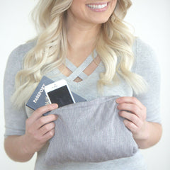 SHOLDIT Infinity Scarf with Pocket Shimmer Grey Clutch