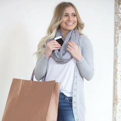 SHOLDIT Infinity Scarf with Pocket Shimmer Grey Doubled