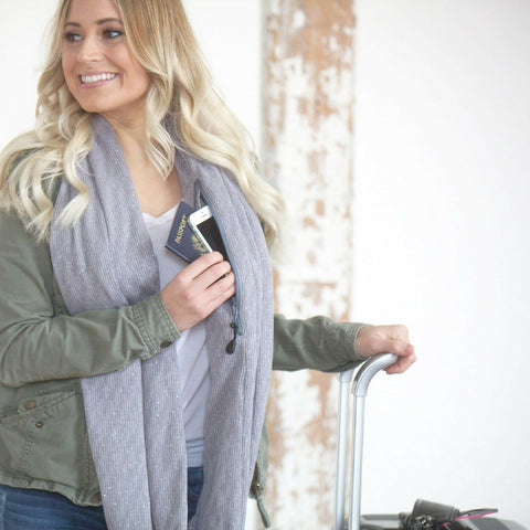 SHOLDIT Infinity Scarf with Pocket Shimmer Grey Fabric Sparkles