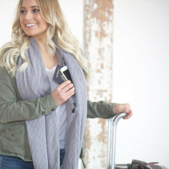 SHOLDIT Infinity Scarf with Pocket Shimmer Grey Long