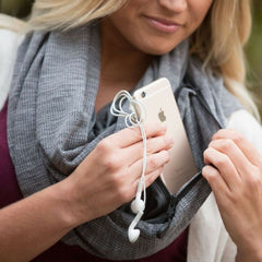 SHOLDIT Wide Cut Infinity Scarf with Pocket Grey with Travel Accessories