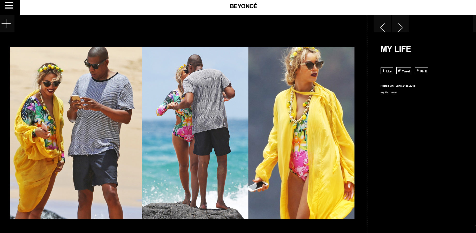 Beyonce wearing Cia Maritima one-piece suit on vacation