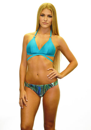 Marrakesh Solid Padded Wrap Halter w/gold rings