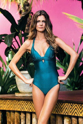 Solid Halter One Piece with Sash detail