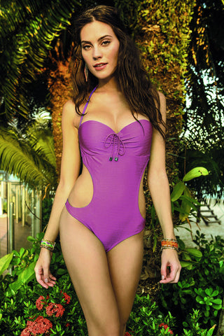 Marrakesh Solid Padded One-Piece w/gold detail
