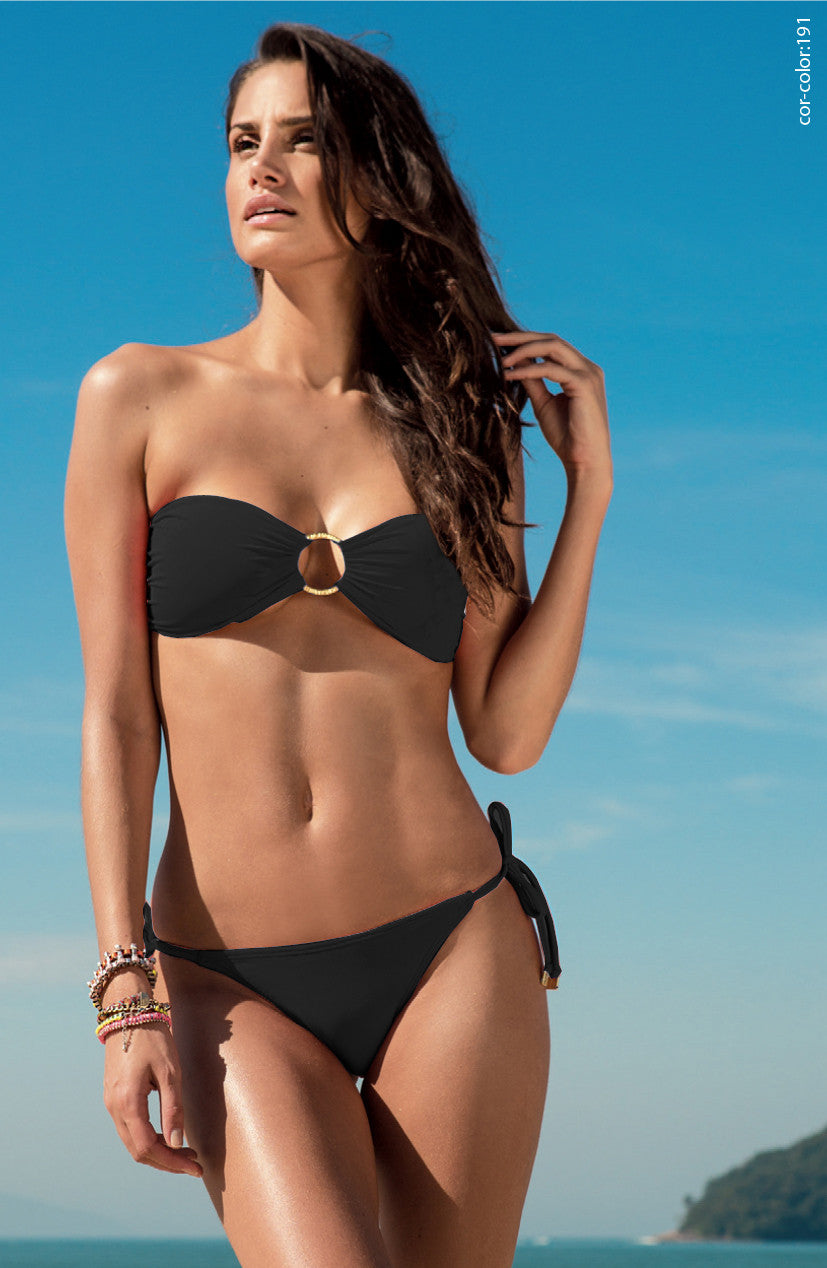 Solid Padded bandeau top w/gold ring