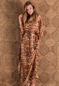 Wild long kaftan brown