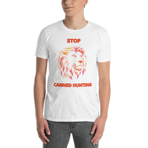 STOP CANNED LION HUNTING T-SHIRT - for each t-shirt sold we donate directly to charities constantly battling to end this horror