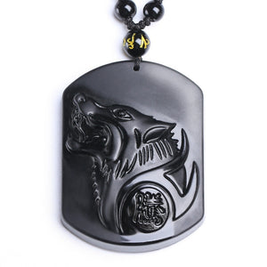 Obsidian Wolf Head Pendant Necklace