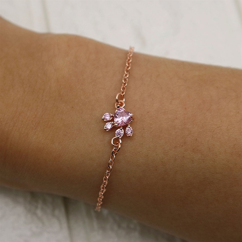 Rose Gold Dog Paw Bracelet