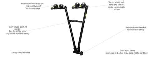 GAZELLE – TOW BALL – 2 ARMS BIKE CARRIER - Sun And Snow