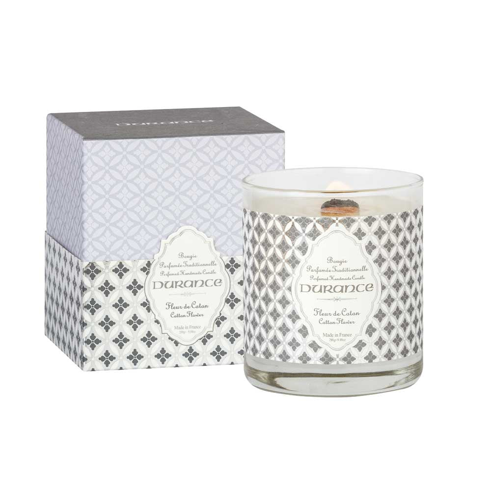 Wooden Wick Candle 280g Cotton Flower