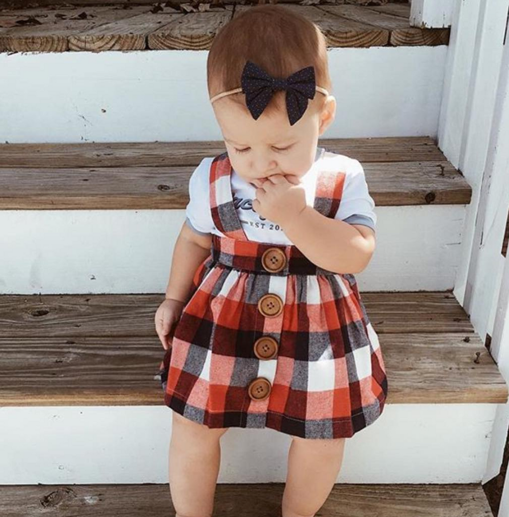 red checked skirt baby fashion 1st birthday out fit navy blue beautiful baby outfit