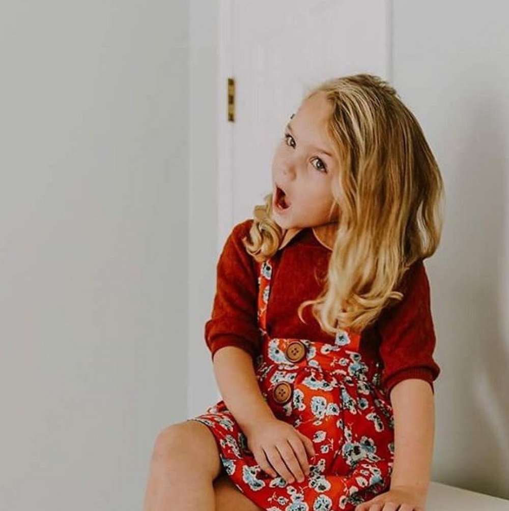 winter fashion floral love dark brown sweater suspender skirt red blue little girl blonde child