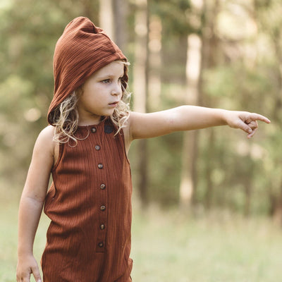 Australian Kids Clothing | Soft Stretch Romper With Hood | Fletcher Stomper
