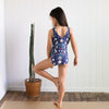 Girls scoop back leotard in floral bird print by chasing Oso