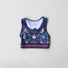 girls activewear crop in dark blue with floral bird print by Chasing Oso