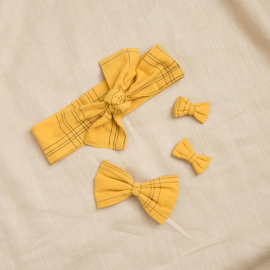 Lacey lane girls hair accessories, mustard girls bows and headscarf from the happy little vegemite collection