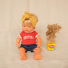 Miniland doll wearing retro dolls clothing by Lacey Lane. Miniland dolls outfit Vegemite shirt