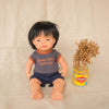 Miniland asian boy doll wearing boys dolls clothes vegemite retro dolls t-shirt and boys doll shorts by My Brother John kids clothing brand