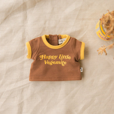 Flat picture of a 1960's doll shirt. Designed by Lacey Lane a brown and mustard Miniland doll outfit t-shirt