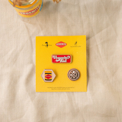 Flatlay of My Brother John pin set from the happy little vegemite collection