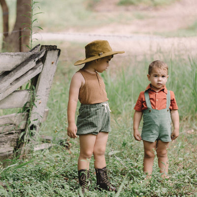 Boys Stretch Cotton Shorts | Retro Inspired Boys High Waisted Shorts