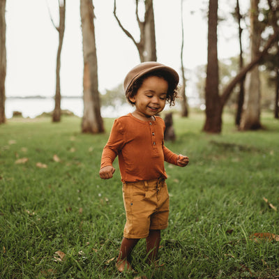 Soft Long Sleeve T-Shirt For Baby Boys & Little Boys | Ochre Shepherd Shirt by My Brother John