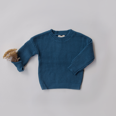 Navy coloured knit jumper by lacey lane