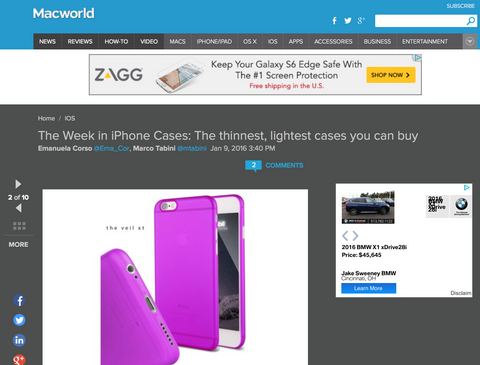Macworld feature of the Caudabe Veil XT, the thinnest iPhone 6 case
