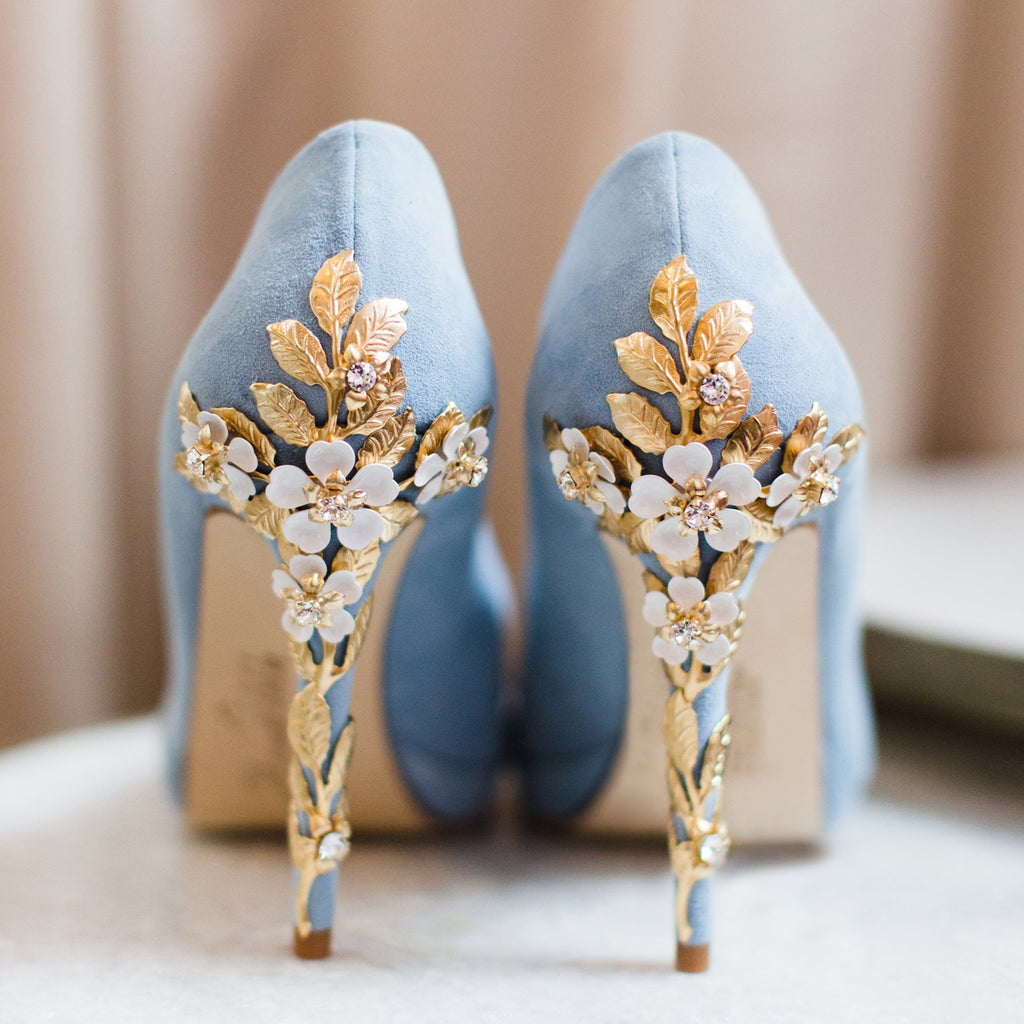 ef9c81bab28 Amy Blue Blossom Wedding Shoes - Blue Bridal Shoes by Harriet Wilde