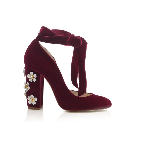 Hetty Floral Red Bridal Shoes