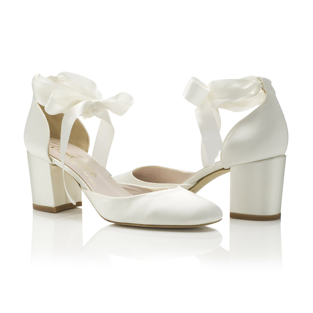 Block Heel Bridal Shoes Ivory