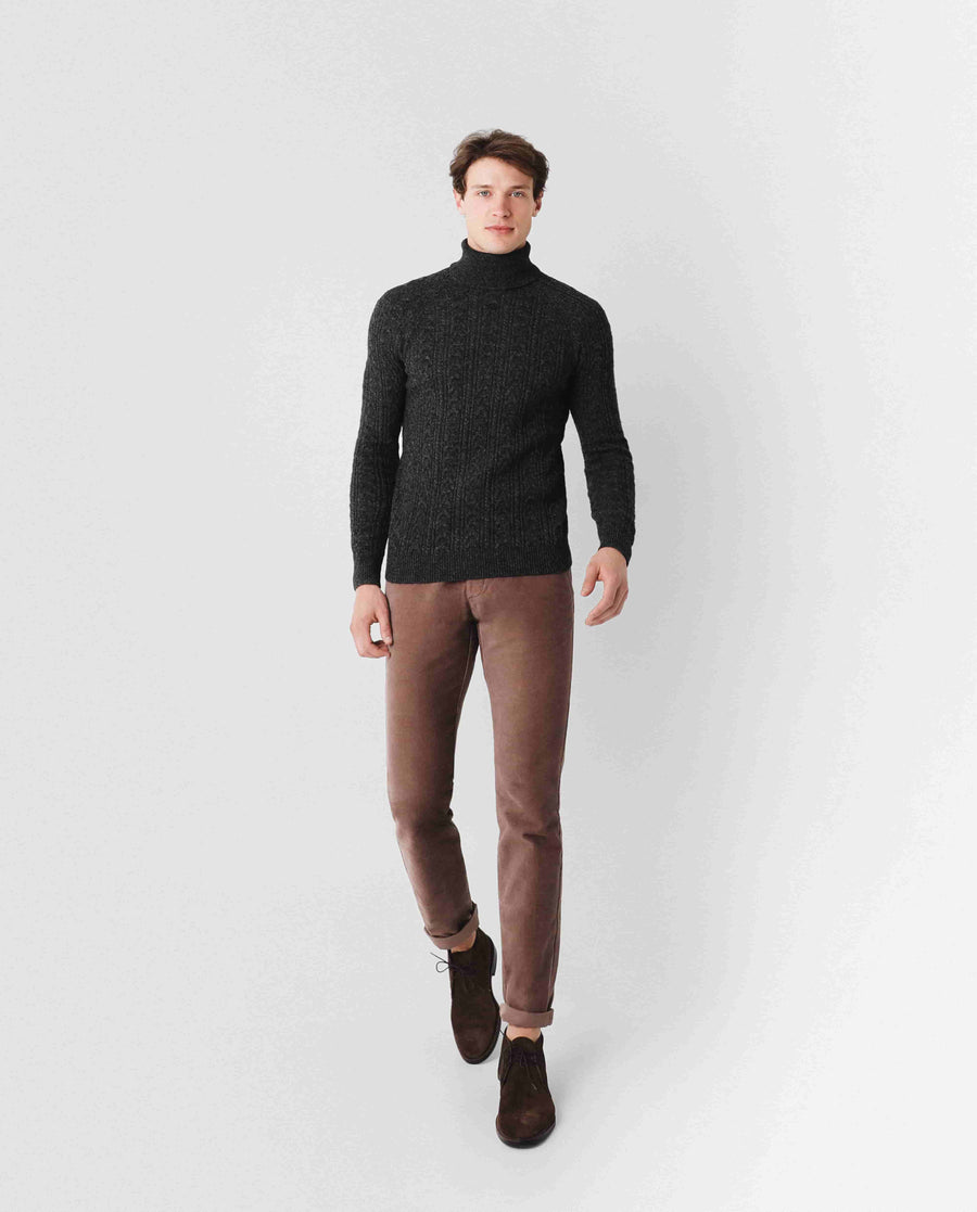 CABLE ROLL NECK TRICOT