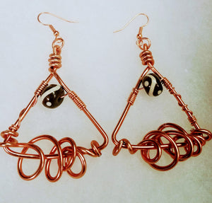 Copper Pyramid Earrings
