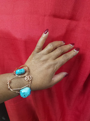 Copper and turquoise Cuff